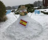 Spanish-themed snowman built by nurses and support staff to cheer up Matt Chandler a patient in the Inpatient Unit at Dorothy House Hospice Care